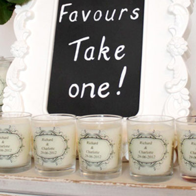 Wedding Favor Tags For Candles : candle holder or candle platform tray to complete the gift