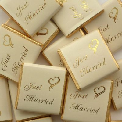 Chocolate Wedding Favours - just married chocolate