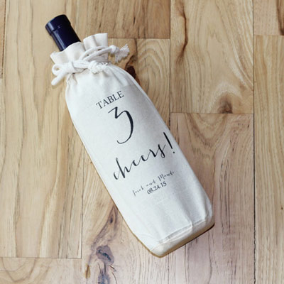 wedding favour ideas - personalised wine bag